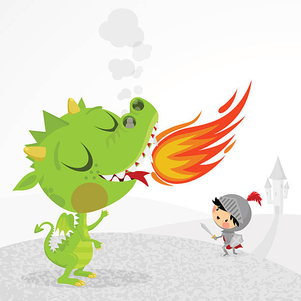 dragon and knight - reiter stock-grafiken, -clipart, -cartoons und -symbole