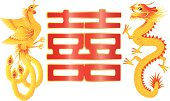 Dragon and Phoenix Symbols for Chinese Wedding with Double Happiness Text Calligraphy Vector Illustration