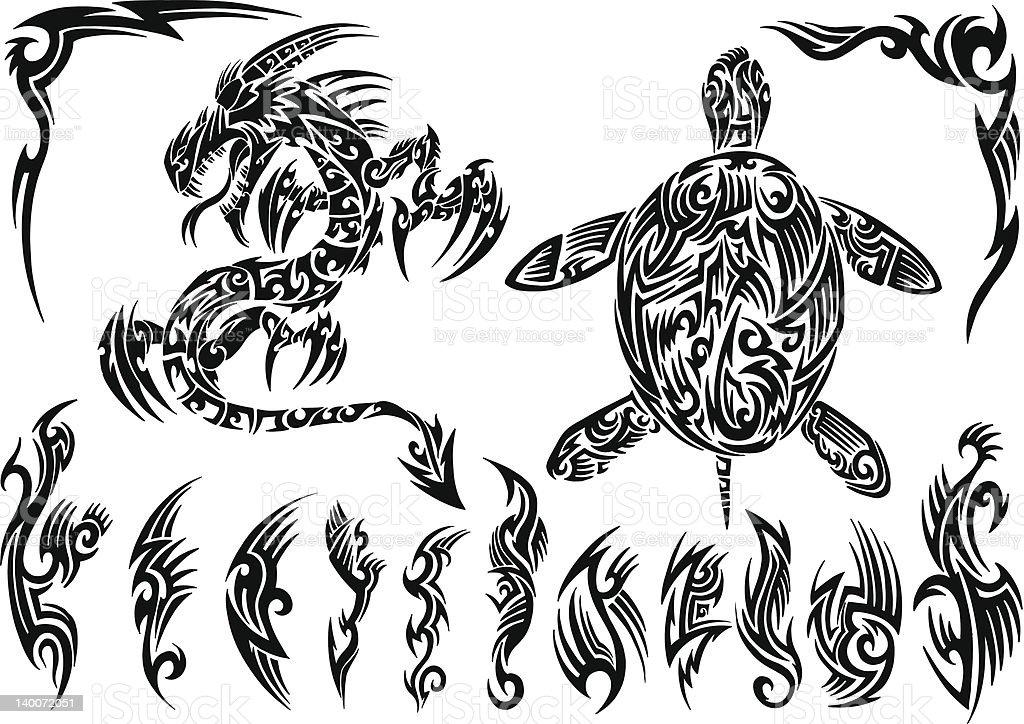 d902d5341 Dragon and Sea Turtle Tribal Tattoo Set royalty-free dragon and sea turtle  tribal tattoo