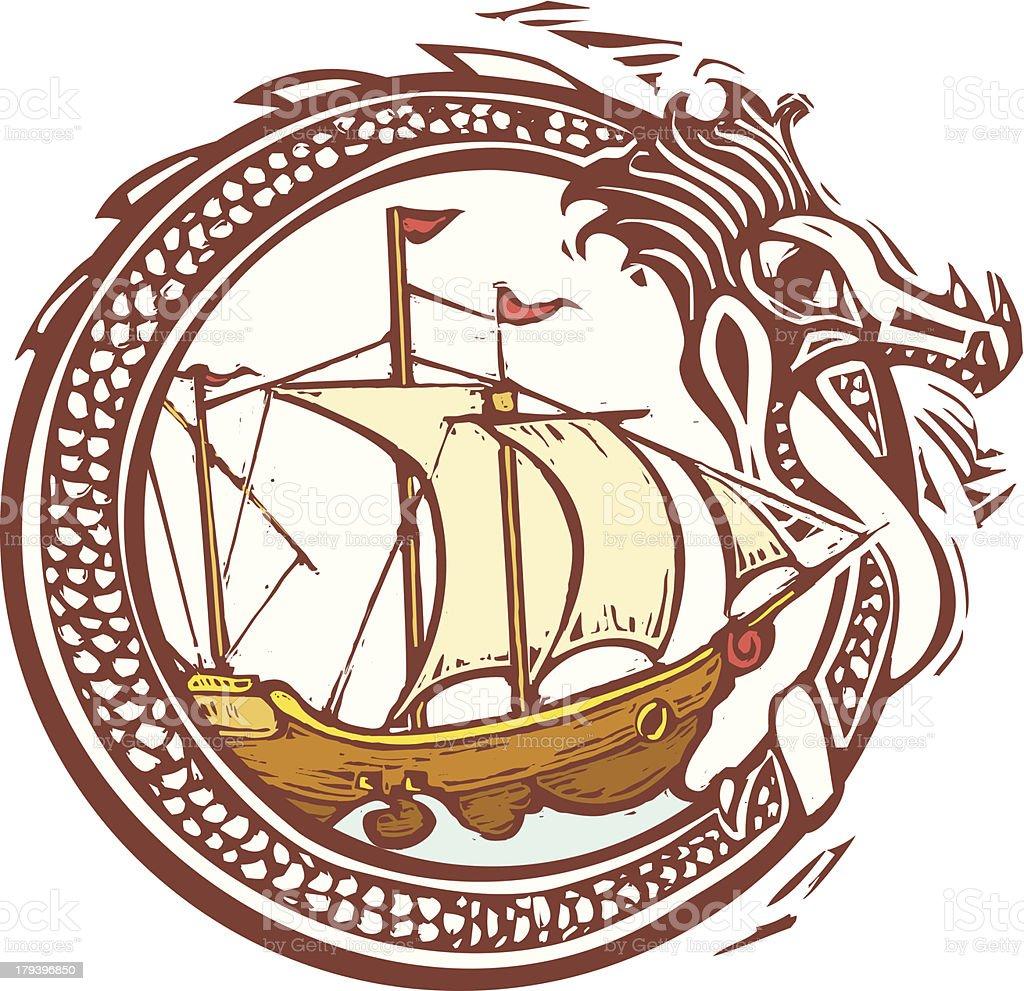 Dragon and Ship royalty-free stock vector art