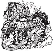 dragon and tiger fighting, black and white tattoo illustration