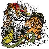 dragon and tiger fighting illustration
