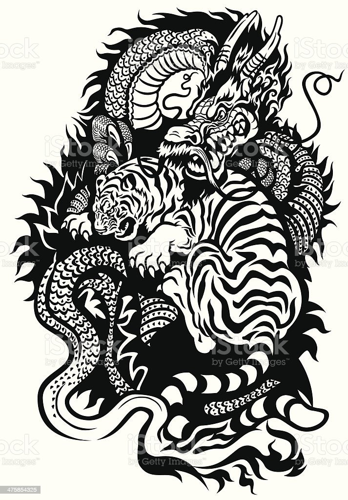 dragon and tiger fighting vector art illustration
