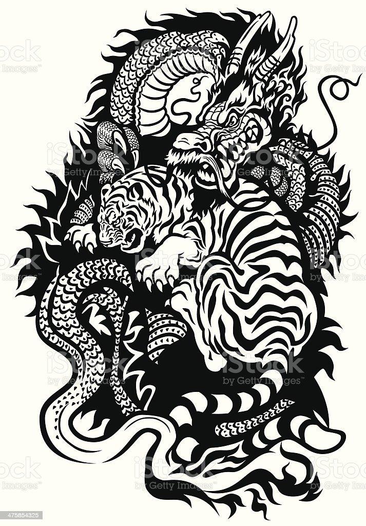 Tigre y dragón de lucha - ilustración de arte vectorial