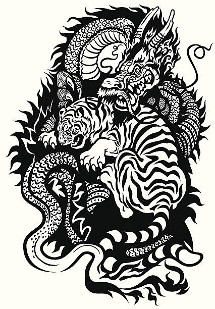 dragon et tigre se battre - Illustration vectorielle