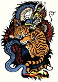 dragon and tiger fighting tattoo illustration