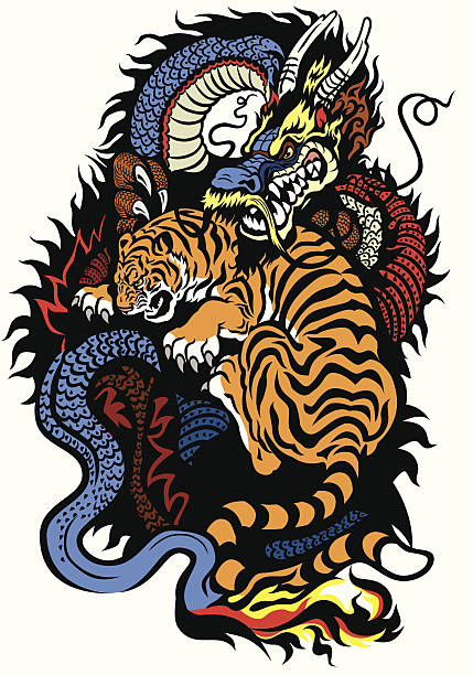 dragon and tiger fighting - dragon tattoos stock illustrations, clip art, cartoons, & icons