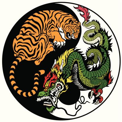 dragon and tiger yin yang symbol