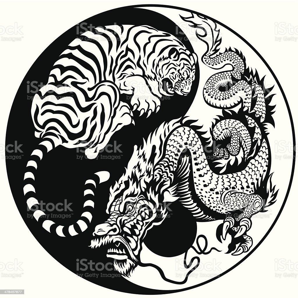 dragon and tiger yin yang symbol vector art illustration