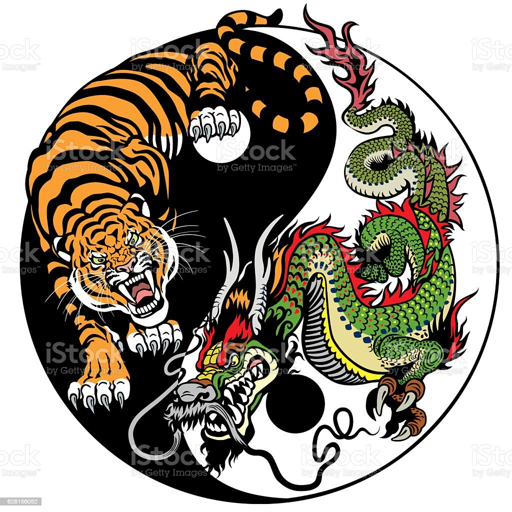 dragon and tiger yin yang - ilustración de arte vectorial
