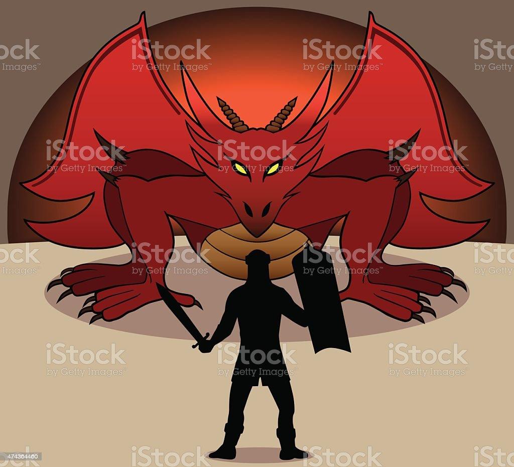 Dragon and Warrior vector art illustration