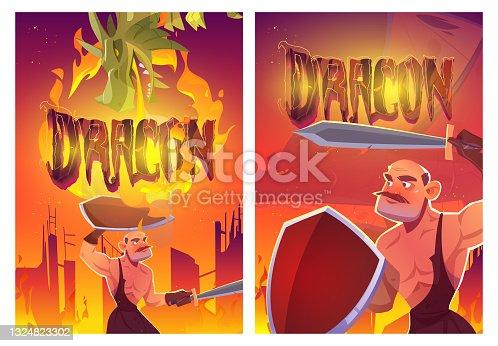 istock Dragon attack knight cartoon posters, magic game 1324823302