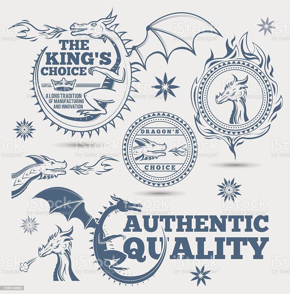 Dragon señales y elementos ilustración de dragon señales y elementos y más banco de imágenes de ala de animal libre de derechos