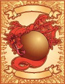 A dragon holding a ball in a creepy border. Banners are on the top and bottom of the dragon. All elements are on separate layers for easy editing!