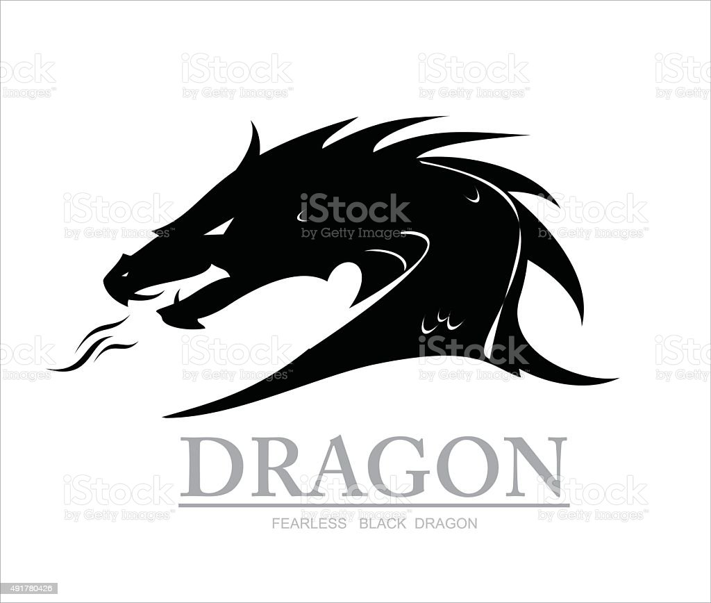 dragon, black dragon. dragon head vector art illustration