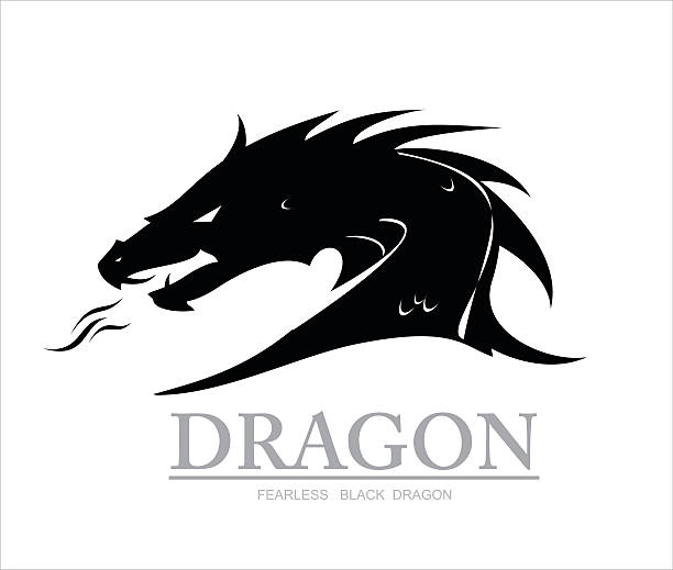 illustrations, cliparts, dessins animés et icônes de dragon, noir dragon. dragon head - dragon