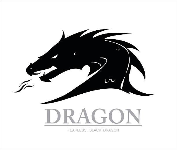 dragon, black dragon. dragon head - dragon stock illustrations, clip art, cartoons, & icons