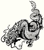 dragon black and white tattoo illustration