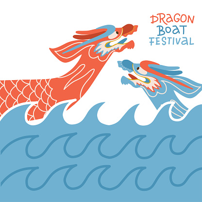 Dragon boat festival greeting card or banner. Two Dragon Boats with waves. Festival Calligraphy lettering. Flat vector illustration.
