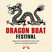 Chinese style dragon and wave motif for dragon boat festival.