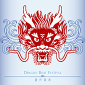 Chinese style dragon head papercut art with wave motif for gradon boat festival.