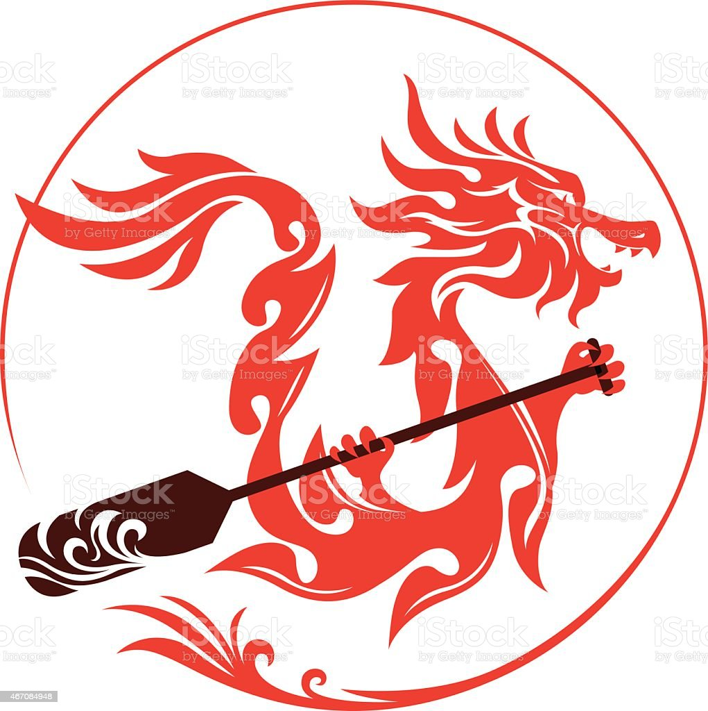 Dragon boat graphic design vector art illustration