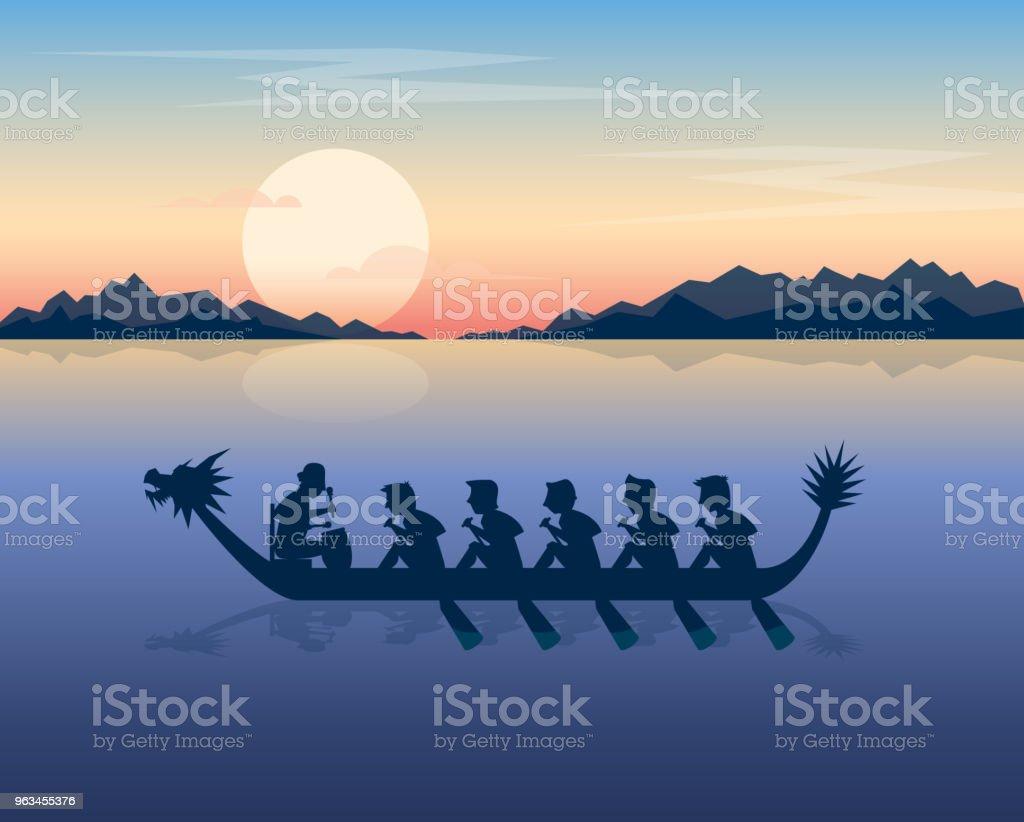Bateau-dragon sur la mer au coucher du soleil - clipart vectoriel de Ciel libre de droits