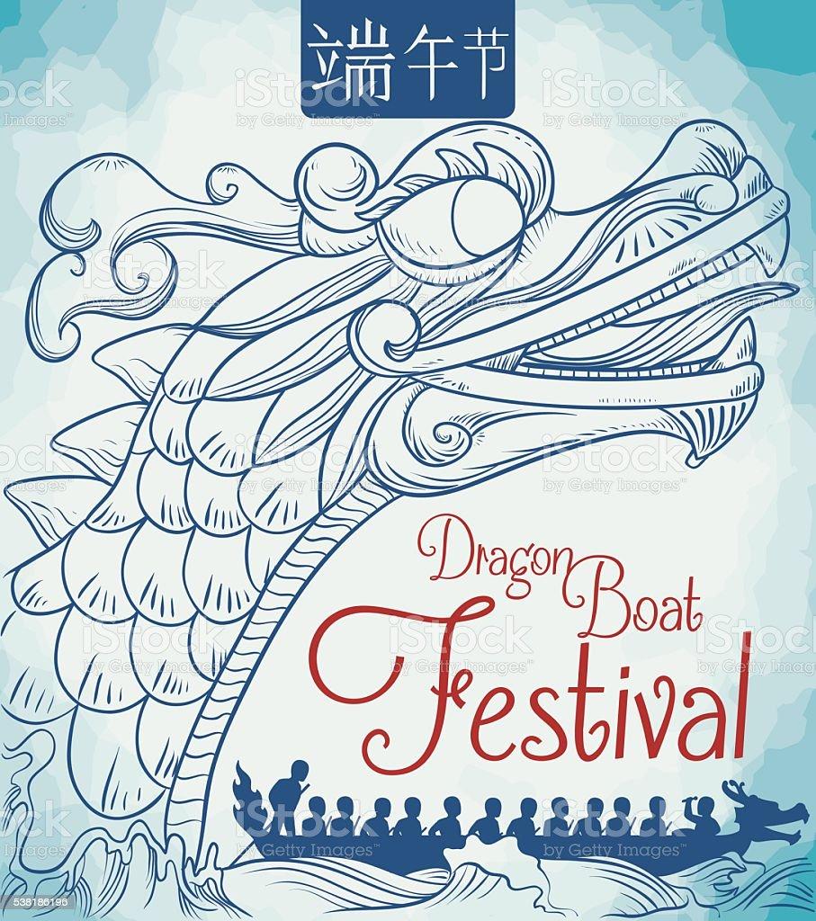 Drachenboot-Wettkampf Plakat in handgezeichnet Stil – Vektorgrafik