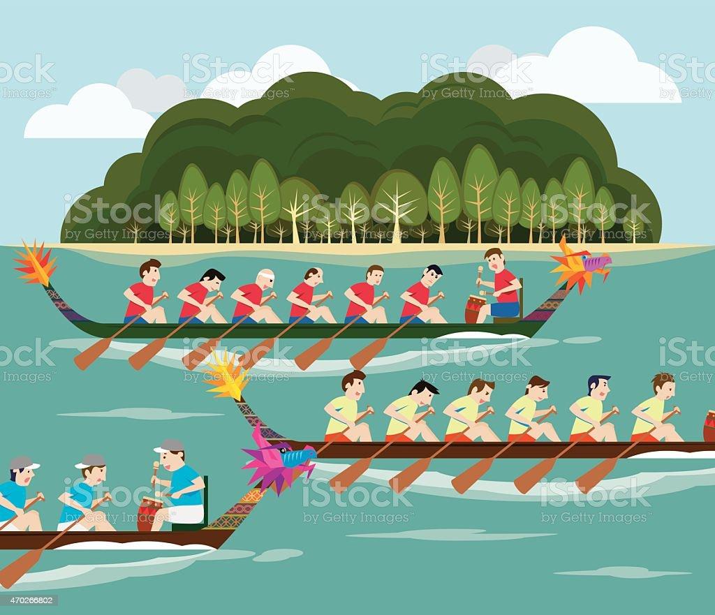 Drachenbootrennen mit Blick auf die Insel – Vektorgrafik