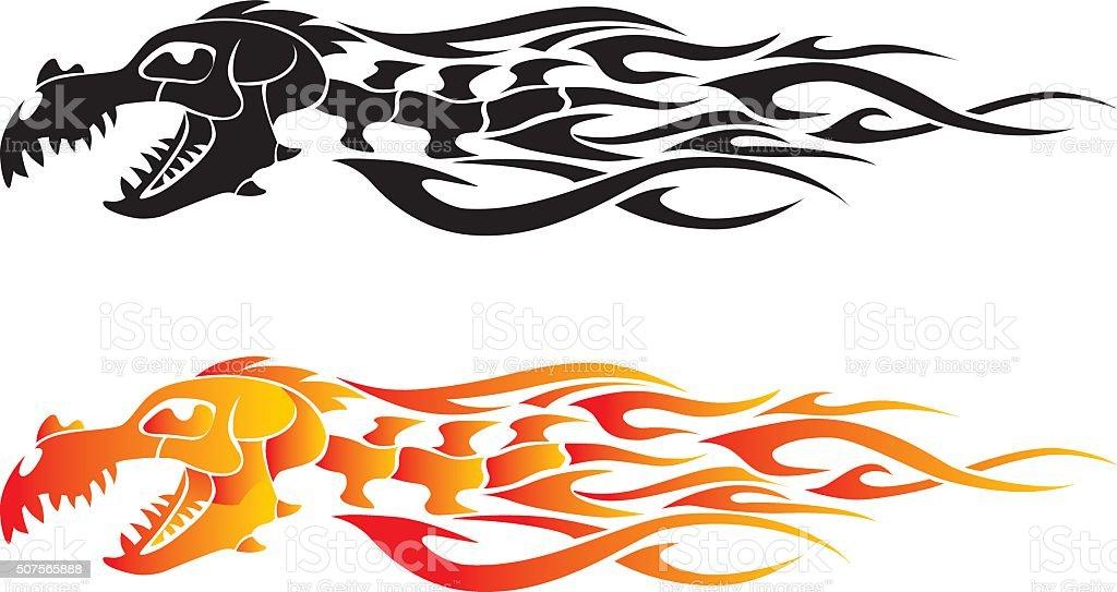 Osso chama tatuagem de dragão - ilustração de arte em vetor