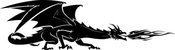 dragon breath fire - dragon stock illustrations