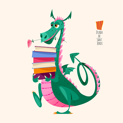 Dragon carries a large stack of books. Diada de Sant Jordi (the Saint George's Day). Traditional festival in Catalonia, Spain.