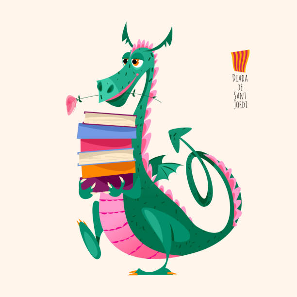 Dragon carries a large stack of books. Diada de Sant Jordi (the Saint George's Day). Traditional festival in Catalonia, Spain. Dragon carries a large stack of books. Diada de Sant Jordi (the Saint George's Day). Traditional festival in Catalonia, Spain. Vector illustration. dragon stock illustrations