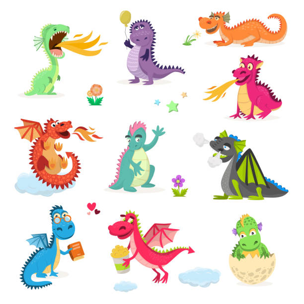 Dragon cartoon vector cute dragonfly dino character baby dinosaur for kids fairytale dino illustration isolated on white background vector art illustration