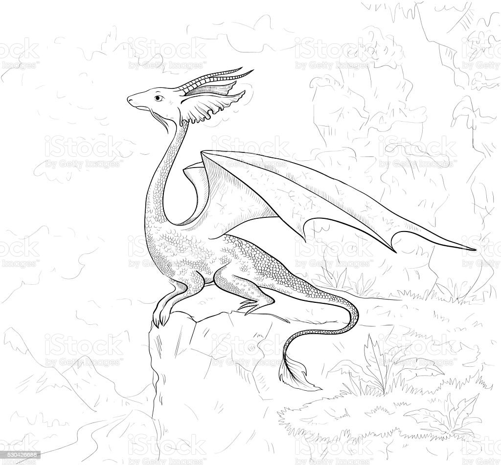 Dragon coloring page. Dragon contour for coloring book. vector art illustration