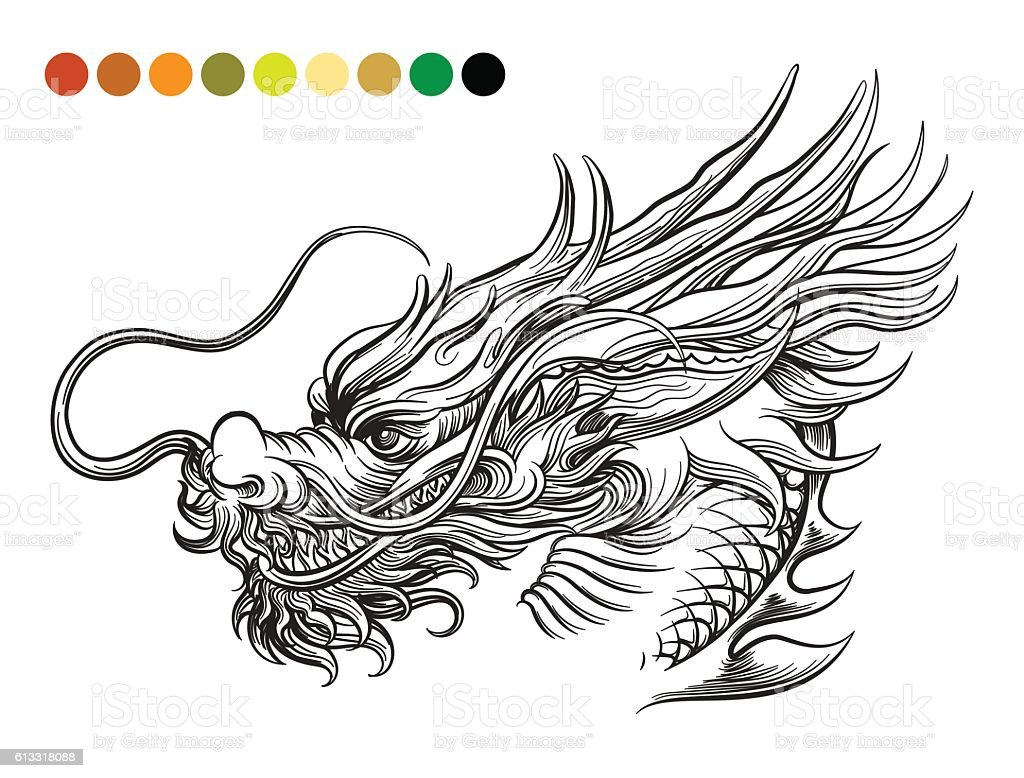 Dragon coloring page template vector art illustration