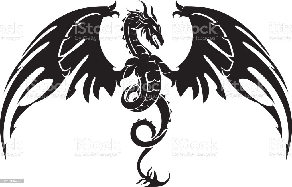 Dragon Crest Wings vector art illustration