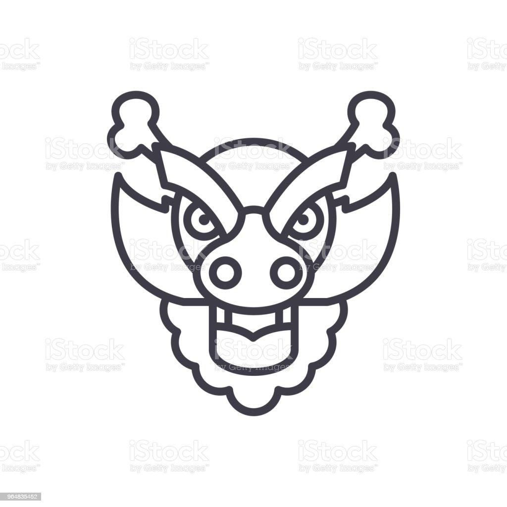 Dragon decoration black icon concept. Dragon decoration flat  vector symbol, sign, illustration. royalty-free dragon decoration black icon concept dragon decoration flat vector symbol sign illustration stock vector art & more images of ancient
