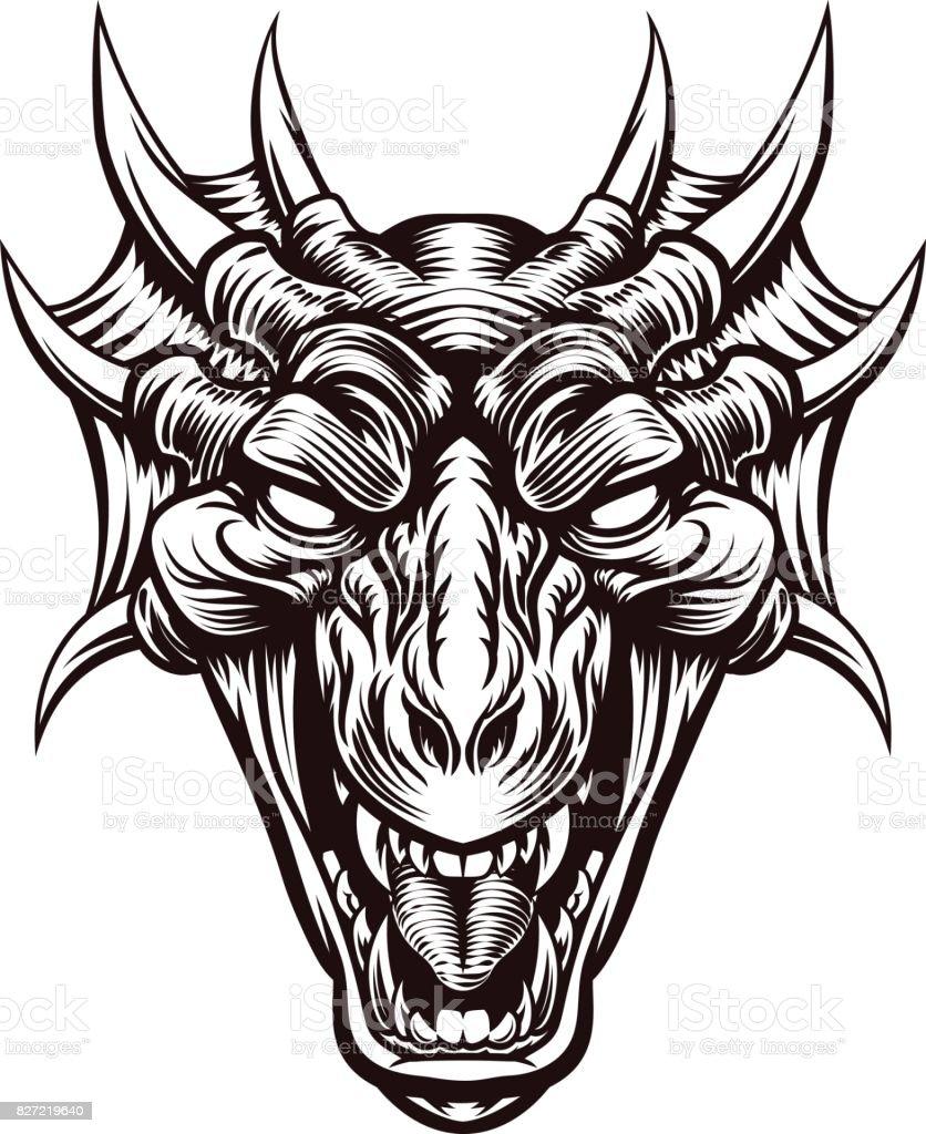 Cabezas De Dragones Para Tatuar ilustración de cabeza de monstruo dragón demonio cara y más