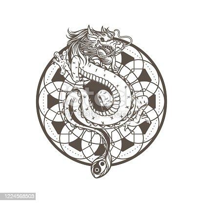 istock Dragon drawing vector illustration, ancient mandala spiritual. Snake asian dragon monster. Mythology animal character isolated on white background. 1224568503
