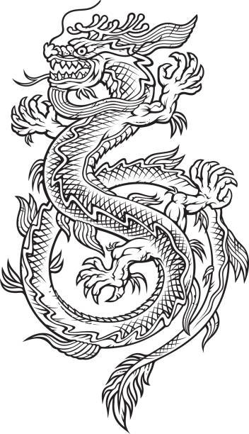 illustrations, cliparts, dessins animés et icônes de orient de dragon - tatouages dragons