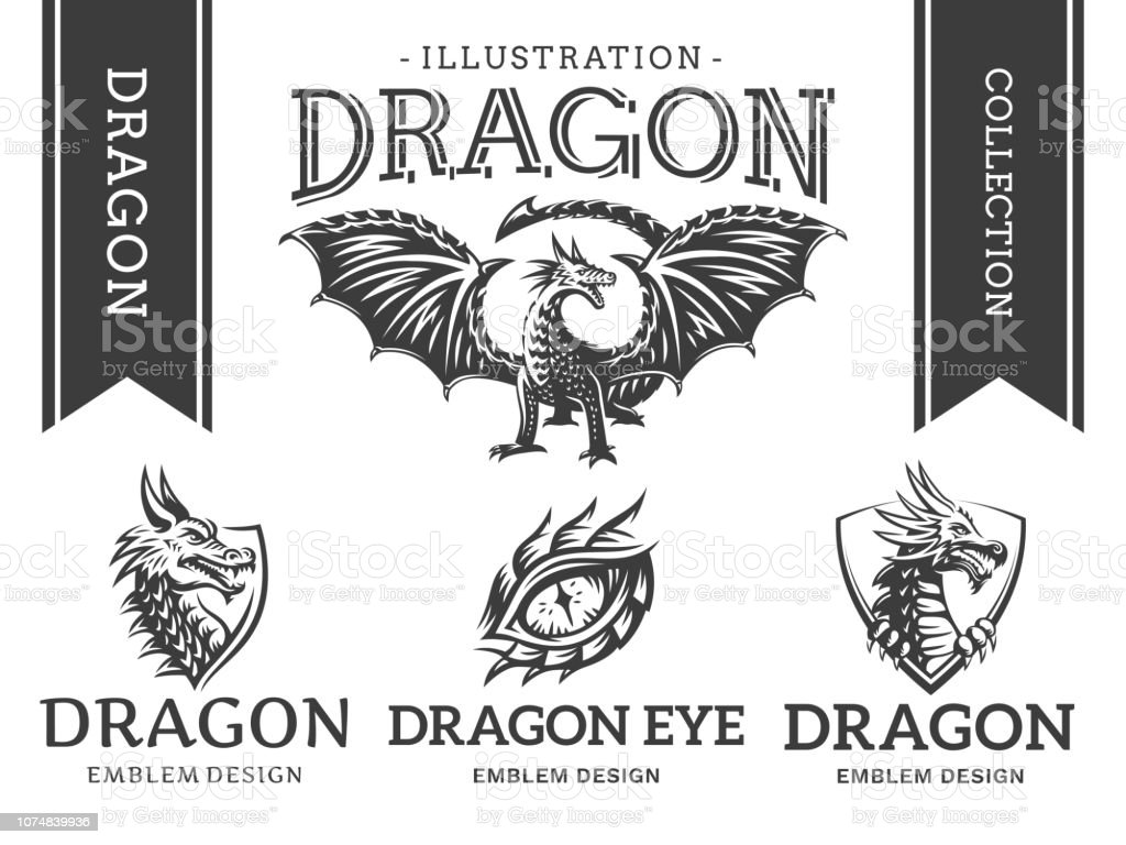 Dragon Emblem Illustration Print Design Collection On A White