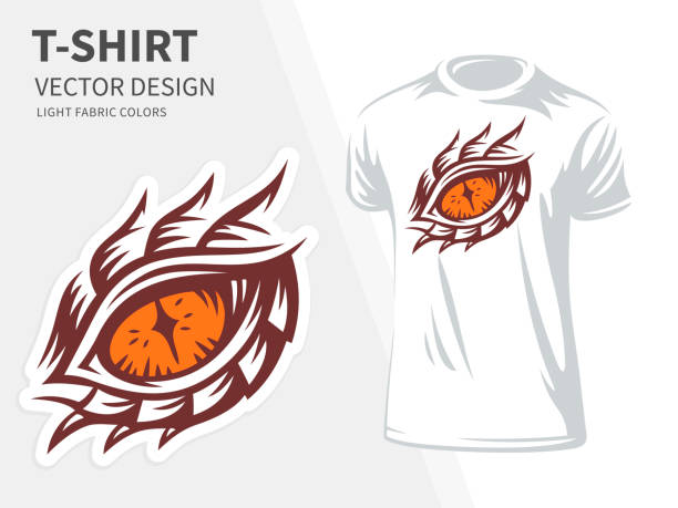 dragon eye vector illustration for t shirt printing and embroidery - design on a white background. - dragon eye stock illustrations, clip art, cartoons, & icons