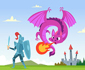 Dragon fighting. Wild fairytale fantasy creatures amphibian with wings castle attack with big flame vector background illustration