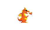 dragon fire pixel art logo vector icon