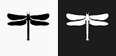 Dragon Fly Icon on Black and White Vector Backgrounds. This vector illustration includes two variations of the icon one in black on a light background on the left and another version in white on a dark background positioned on the right. The vector icon is simple yet elegant and can be used in a variety of ways including website or mobile application icon. This royalty free image is 100% vector based and all design elements can be scaled to any size.