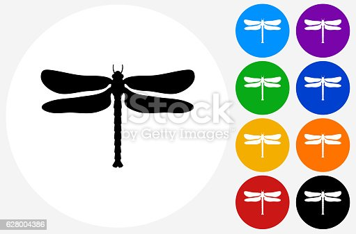 Dragon Fly Icon on Flat Color Circle Buttons. This 100% royalty free vector illustration features the main icon pictured in black inside a white circle. The alternative color options in blue, green, yellow, red, purple, indigo, orange and black are on the right of the icon and are arranged in two vertical columns.