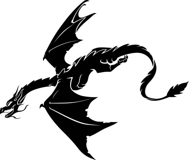 Dragon Flying and Glide Down vector art illustration