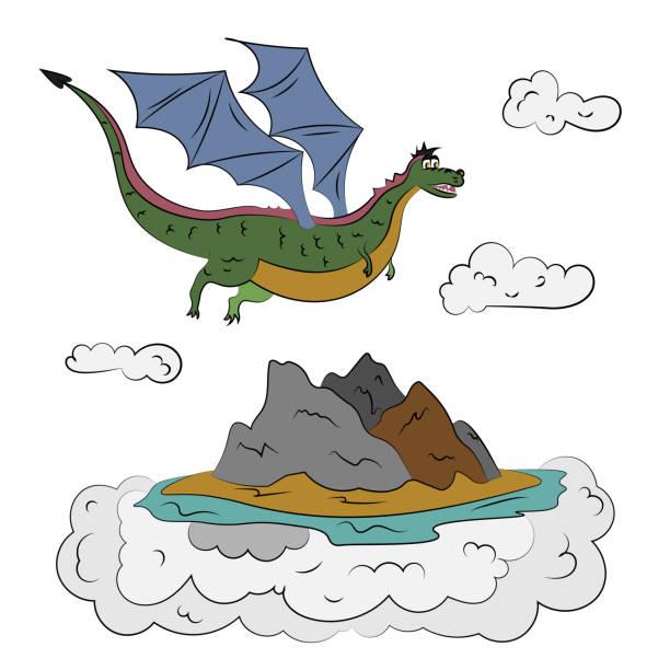 ein drache am himmel über eine luft-insel - lombok stock-grafiken, -clipart, -cartoons und -symbole