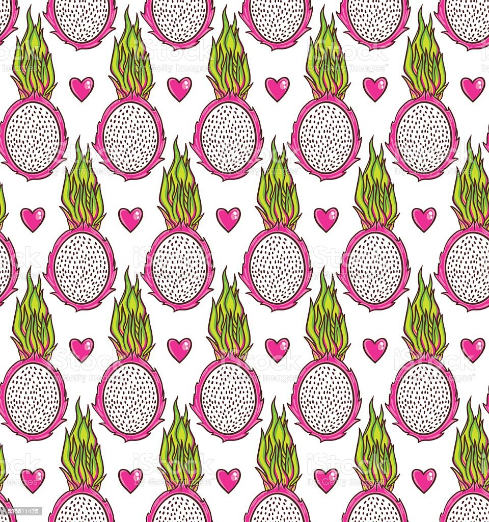 Dragon fruit pattern vector art illustration